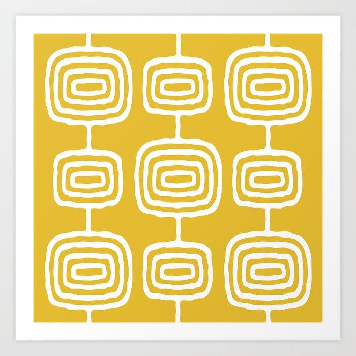 Mid Century Modern Atomic Rings Pattern 771 Mustard Yellow Kunstdrucke