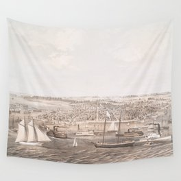 Vintage Pictorial Map of New Bern NC (1864) Wall Tapestry