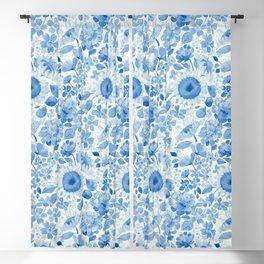 Denim Blue Monochrome Retro Floral Blackout Curtain