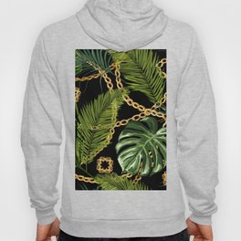 Tropical vintage Baroque pattern with golden chains, palm leaves, baroque elments on dark background. Classical luxury damask hand drawn illustration pattern. Hoody