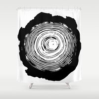 tree rings Shower Curtains featuring Tree Rings by vogel