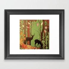 deer in forest Framed Art Print