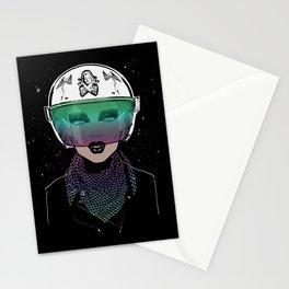 Let Me In Dude - Biker Girl Portrait Helmet Stationery Cards