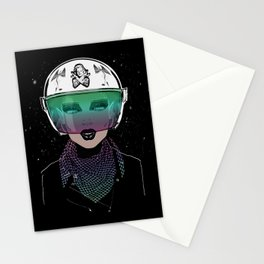 Let Me In Dude - Biker Girl Portrait Helmet Stationery Cards