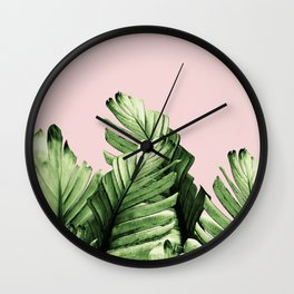 Blush Banana Leaves Dream #1 #tropical #decor #art #society6 Wall Clock