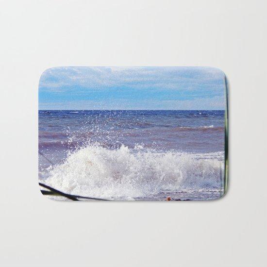 Wave Crashing onto the Beach Bath Mat