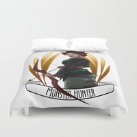monster hunter Duvet Covers featuring Steampunk Occupation Series: Monster Hunter by kortothecore