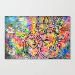 Radha Krishna Abstract colorful painting by Manjiri Kanvinde Canvas Print