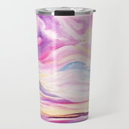 Colourful, Vibrant Abstract Sunset Oil Painting Travel Mug