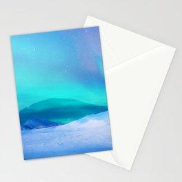 Northern Lights Landscape Colorful blue Stationery Cards