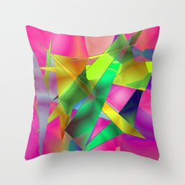 Green Shards on Hot Pink Abstract Throw Pillow