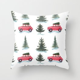 Red car and christmas tree in forest Throw Pillow