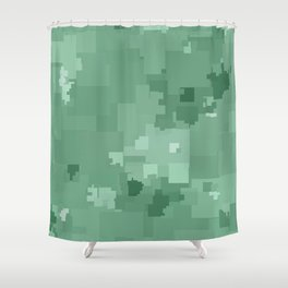 Grayed Jade Square Pixel Color Accent Shower Curtain