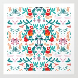 PippiRabbit in Succulents Garden Repeated Pattern Art Print
