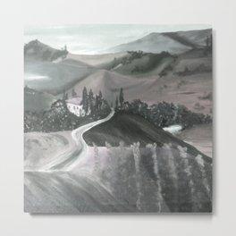 Tuscany in Sepia Metal Print