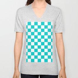 Checkered - White and Cyan Unisex V-Neck