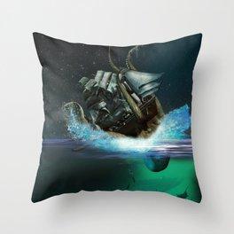 Kraken Attack Throw Pillow