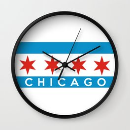 chicago city flag name text Wall Clock