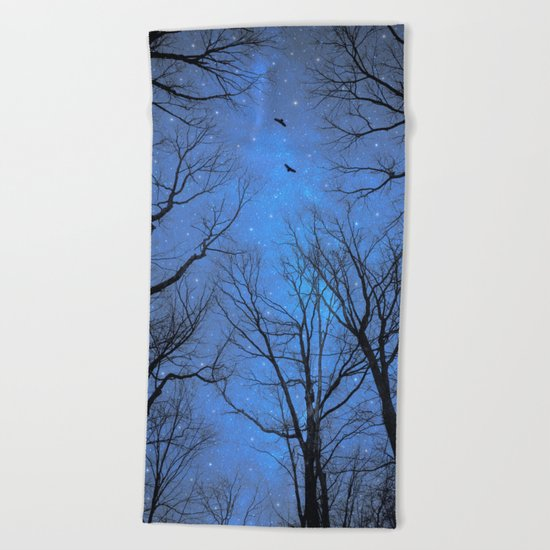 A Certain Darkness Is Needed (Night Trees Silhouette) Beach Towel