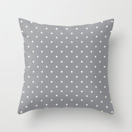 Small White Polka Dots with Grey Background Throw Pillow