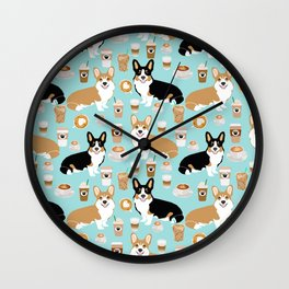 Corgi coffee welsh corgis dog breed pet lovers corgi crew Wall Clock