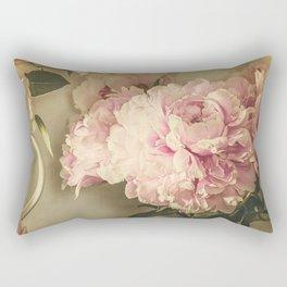 Painted Peonies -- Botanical Still Life Rectangular Pillow