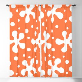 Pretty Mid Century Modern Floral Pattern 321 Orange Blackout Curtain