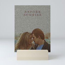 Text Portrait of Ethan Hawke and Julie Delpy with Full Script of the movie Before Sunrise Mini Art Print