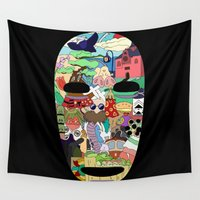 spirited away Wall Tapestries featuring No Face by Ilse S