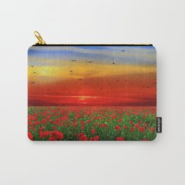 Field of poppies at sunset Carry-All Pouch