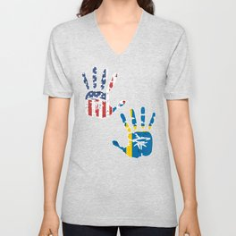 USA Sweden Handprint & Flag | Proud Swedish American Heritage, Biracial American Roots, Culture, Unisex V-Neck