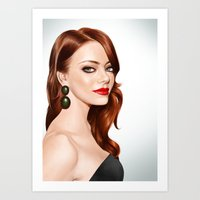 emma stone Art Prints featuring Emma Stone by RachelHam