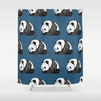 pandas Shower Curtains featuring Pandas by Diana Hope