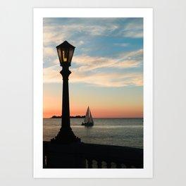Colonia Vibes. Beautiful sunset scene with a boat in Colonia del Sacramento, Uruguay Art Print