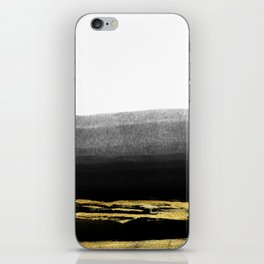 Black & Gold Stripes on White - Mix & Match with Simplicty of life iPhone Skin