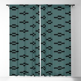 Southwestern Coyote Track Symbols in Evergreen + Black Blackout Curtain