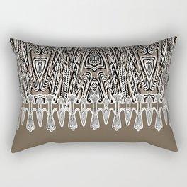 Dark Coffee Macramé Arrowhead Lace Pattern Rectangular Pillow