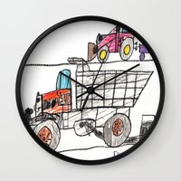 pocket fuel Wall Clocks featuring Taking on Fuel by Ryan van Gogh