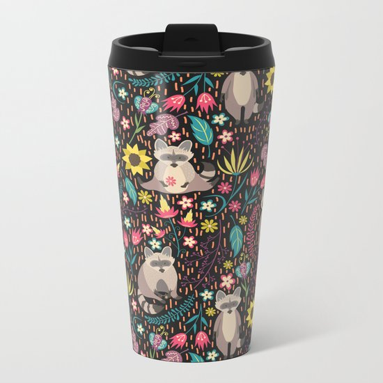 Raccoons bright pattern Metal Travel Mug