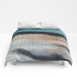 Dawn: a minimal abstract acrylic piece in pink, blues, yellow, and white Comforters