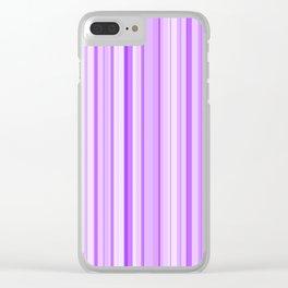Purple Candy Stripe Clear iPhone Case