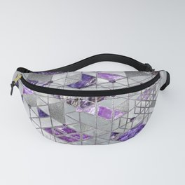 Abstract Geometric Amethyst and Mother of pearl Fanny Pack