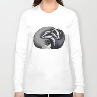 cuddle Long Sleeve T-shirts featuring Badger Cuddle by Lyndsey Green Illustration