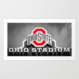 Ohio State Football Stadium Black White Print Art Print