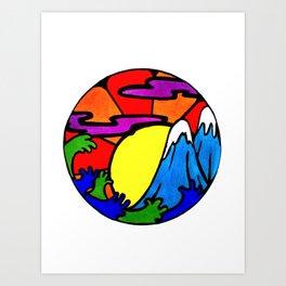 Sunshine and Mountain tops Art Print