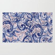 Vinage Lace Watercolor Blue Blush Rug