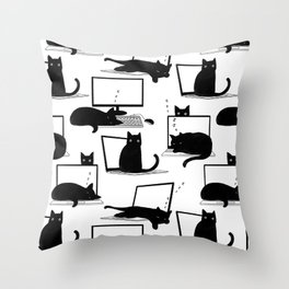Cats Sitting on Laptops Throw Pillow