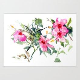 Hibiscus and Hummingbird, Hawaiian Aloha, birds and flowers design Art Print