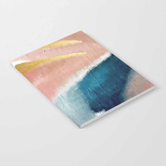 Exhale: a pretty, minimal, acrylic piece in pinks, blues, and gold Notebook