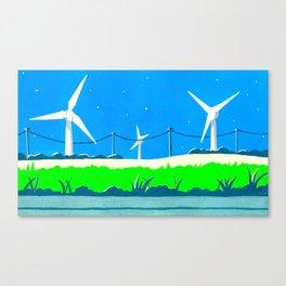 Wind turbines before nightfall Canvas Print
